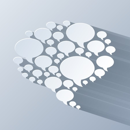 art blog: 3d white chat bubble symbol on light grey background. RGB EPS 10 vector illustration