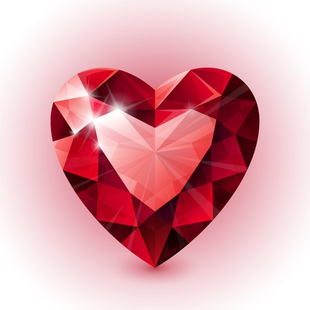 Red shining ruby heart shape on white background. RGB EPS 10 vector illustration Vector