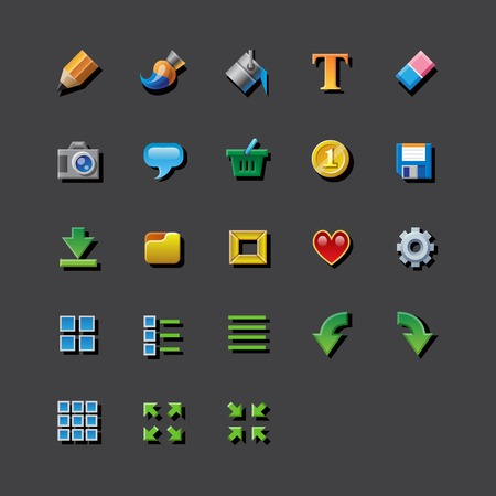 editor: 23 Colorful web app graphic editor tools icons. RGB EPS 10 vector icons set