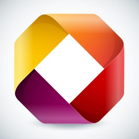 メビウス折り紙カラフルな紙の長方形の白い背景の上で。RGB EPS 10 ベクトル図  イラスト・ベクター素材