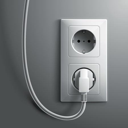 voltage gray: Electric white plug and socket on grey wall background. RGB EPS 10 vector illustration