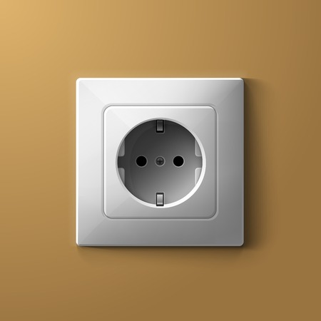 Realistic electric white socket on biege wall background. RGB EPS 10 vector illustration