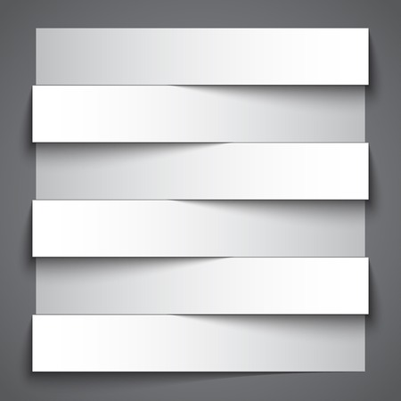 black white: Infographics blank paper stripe banners with shadows on dark grey background.   Illustration