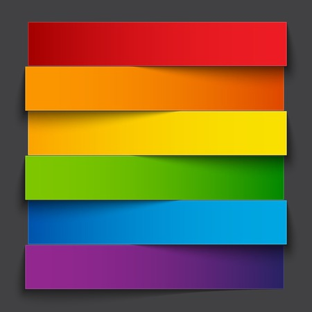 Infographics rainbow paper stripe banners with shadows on dark grey background.   Ilustração
