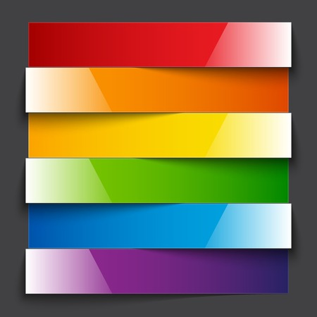 Infographics shiny rainbow paper stripe banners with shadows on dark grey background.  Vector