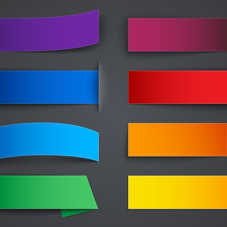 Set of blank colorful paper banners with shadows on gray background.     Vector