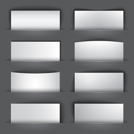 bage: Set of blank paper banners with shadows on gray background.