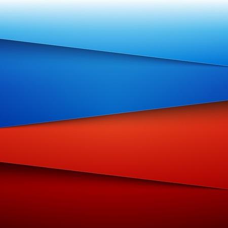 青と赤の紙層は、背景を抽象化します。