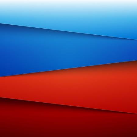 Blue and red paper layers abstract background.