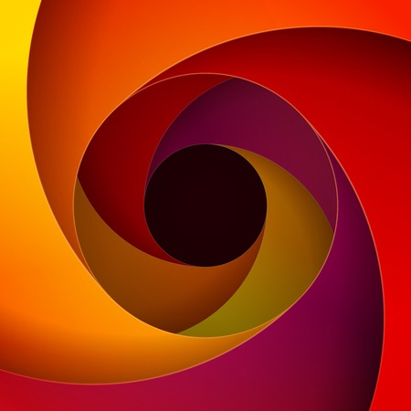 Kleurrijke rood, oranje en geel papier wervelingenachtergrond. RGB EPS 10 vector illustratie