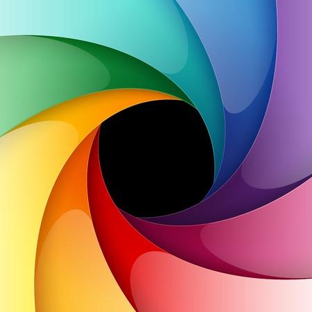 diaphragm: Swirly rainbow colorful shiny paper background.