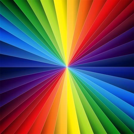 虹カラフルな 2 つ折りの紙の三角形の背景。