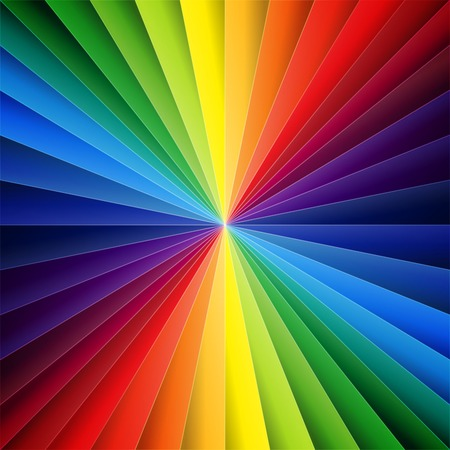Rainbow colorful folded paper triangles background.