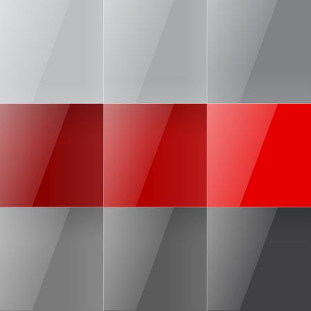 Gray and red shiny squares abstract background.  Vector