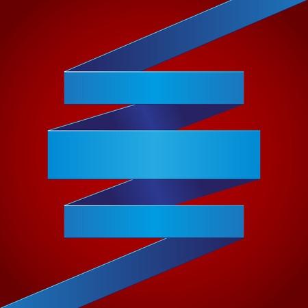 v�tements pli�s: Papier bleu pli� ruban sur fond rouge fonc�.