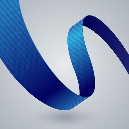 Blauwe stof gebogen lint op grijze achtergrond. RGB EPS 10 vector illustratie