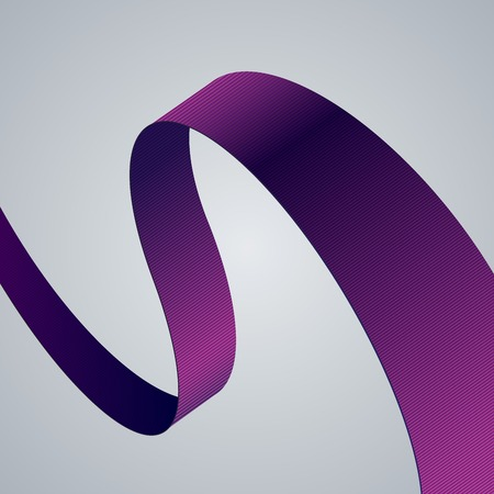 white clothing: Purple fabric curved ribbon on grey background.