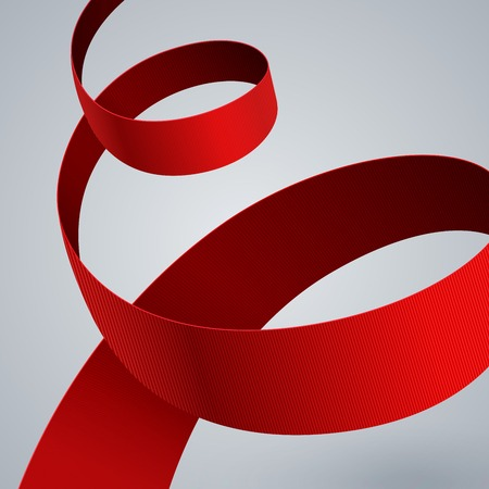 Red fabric curved ribbon on grey background.  Vector