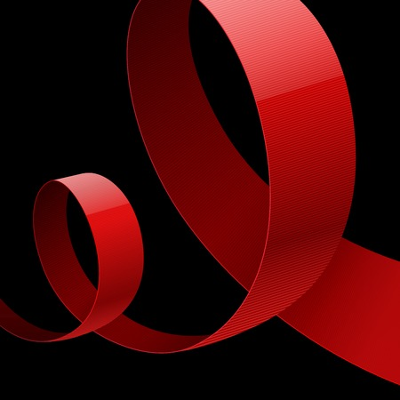 looping: Red fabric glossy curved ribbon on black background. RGB EPS 10 vector illustration
