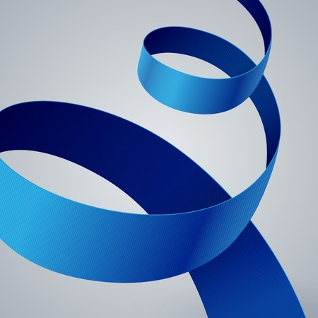 Blue fabric curved ribbon on grey background.