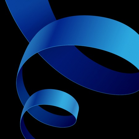 black tie: Blue fabric curved ribbon on black background. RGB EPS 10 vector illustration