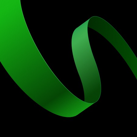 Green fabric curved ribbon on black background.