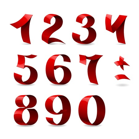 Set of isolated red color shining ribbon numbers on white background.    Ilustração