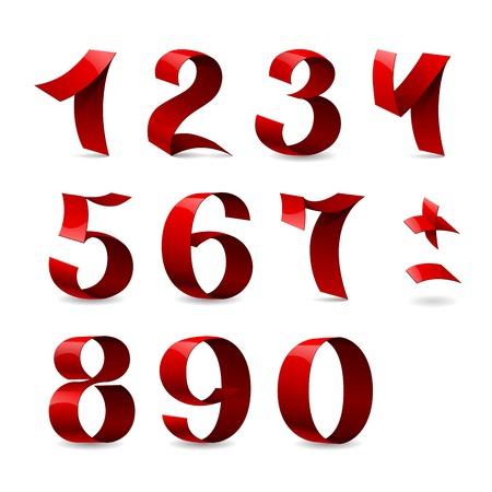 Set van geïsoleerde rode kleur glanzende band nummers op een witte achtergrond. Stock Illustratie