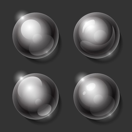 Realistic shiny transparent glass spheres set.    Vector