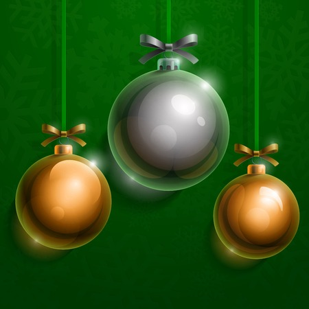 Christmas tree silver and golden realistic shiny glass balls on green background.   Vector