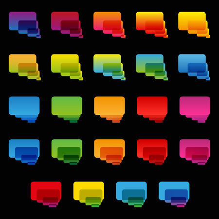 rounded rectangle: Rainbow colorful transparent rounded rectangle chat bubbles set on black background.  Illustration