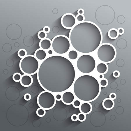 Abstract infographics white circles with shadow on grey background.