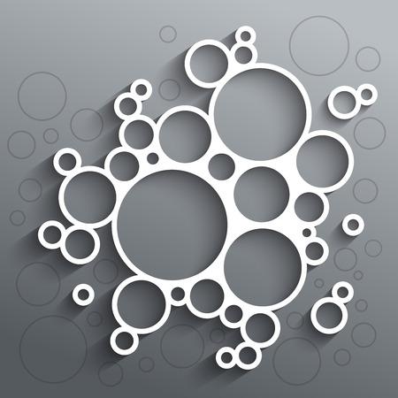 Abstract infographics witte cirkels met schaduw op een grijze achtergrond.