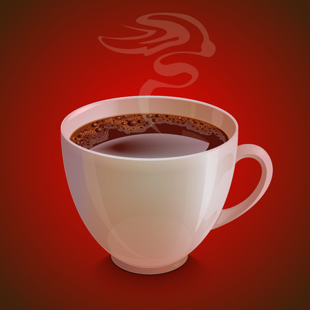 vapor: Isolated realistic white coffee cup with vapor on dark red background. Illustration