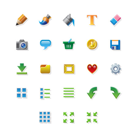 editor: 23 Colorful web app graphic editor tools icons on white background.