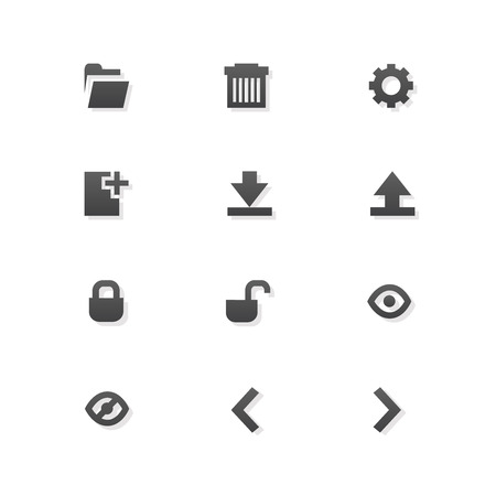 editor: 12 Grey web app graphic editor tools icons on white background.