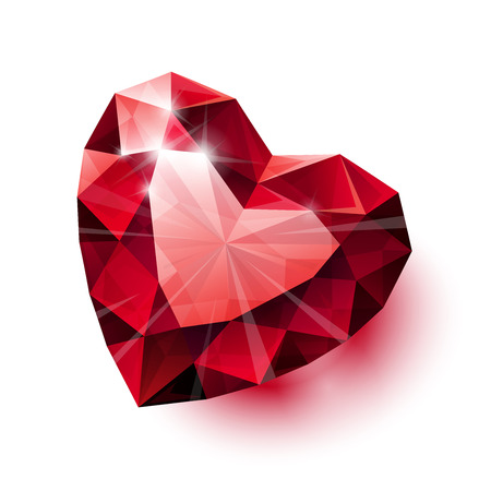 Shiny isolated red ruby heart shape with shadow on white background.