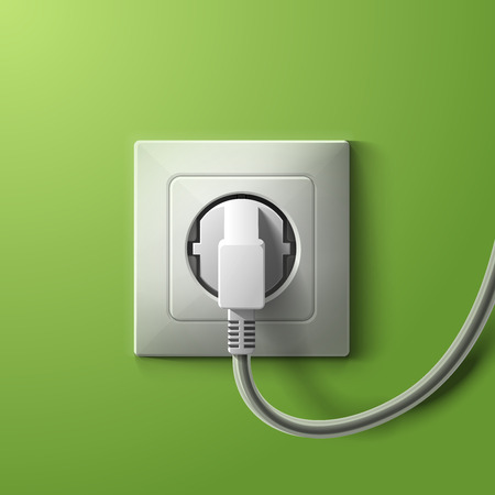 electrical energy: Realistic electric white socket and plug on green wall background.