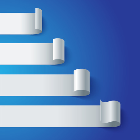 Curled blank paper stripe banners chart on blue background.