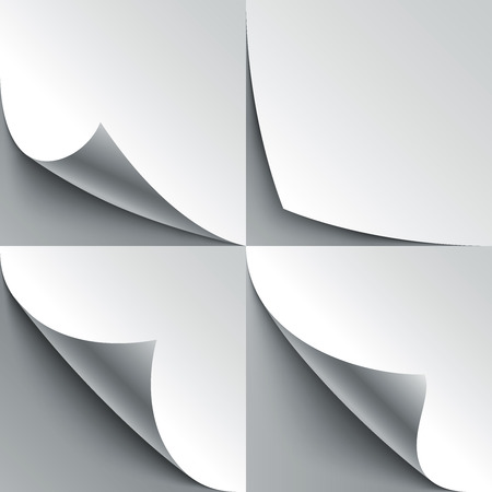 Set of curled white paper page corners with realistic shadows.  Vector
