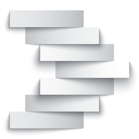 Blank paper stripe banners arrow on white background. Vector