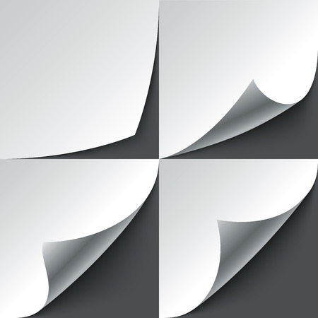 Set gekrulde wit papier pagina hoeken met realistische schaduwen. RGB EPS 10 vector illustratie