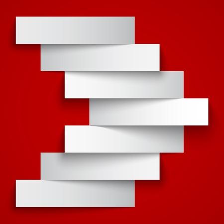 rojo oscuro: Blanco banderas de la raya de papel flecha sobre fondo rojo oscuro. Vectores