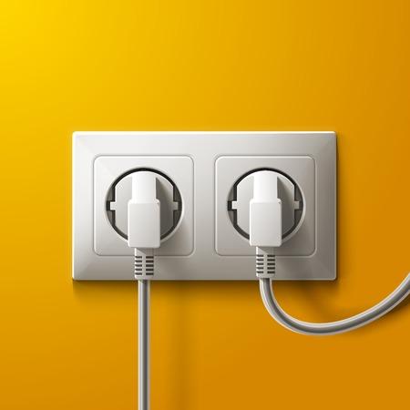 Realistische elektrische witte contactdoos en 2 stoppen op gele muurachtergrond.