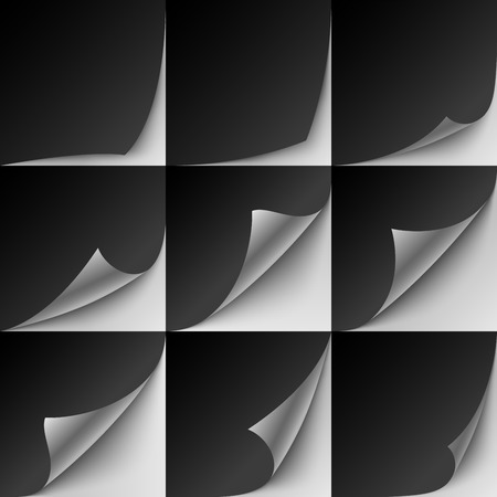 Set of 9 black paper curled corners with realistic shadows.