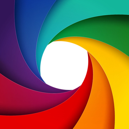 Swirly rainbow  paper layers background. RGB EPS 10 vector illustration Ilustração