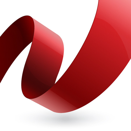 Red shiny fabric curved textured ribbon on white background. RGB EPS 10 vector illustration