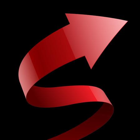 lazo negro: Aislado rojo tela brillante cinta curva flecha sobre fondo negro. Vectores
