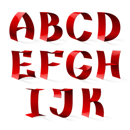 biege: Set of isolated red color shiny ribbon font A-K letters. RGB EPS 10 vector illustration