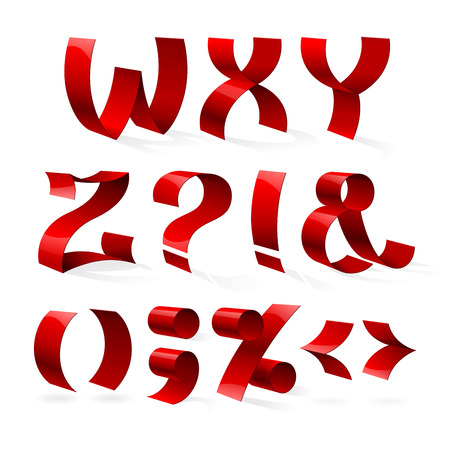 biege: Set of isolated red color shiny ribbon font W-Z letters and punctuation marks.